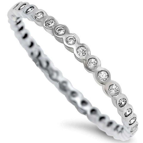 Round Cz Eternity Band .925 Sterling Silver Ring Sizes 2-10