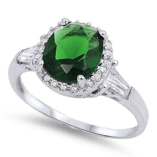 Oval Green Emerald & Cz .925 Sterling Silver Ring Sizes 5-10