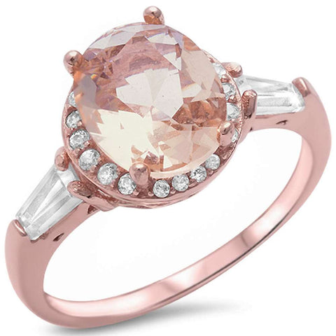 Rose Gold Plated Oval Morganite .925 Sterling Silver Ring Sizes 5-11