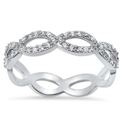 Cubic Zirconia Infinity Eternity Band .925 Sterling Silver Ring Sizes 5-10