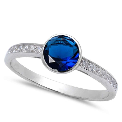Bezel Blue Sapphire & Cubic Zirconia .925 Sterling Silver Ring Sizes 5-9