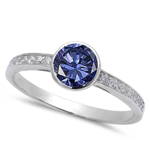 Bezel Tanzanite & Cz Fashion Engagement .925 Sterling Silver Ring sizes 5-9