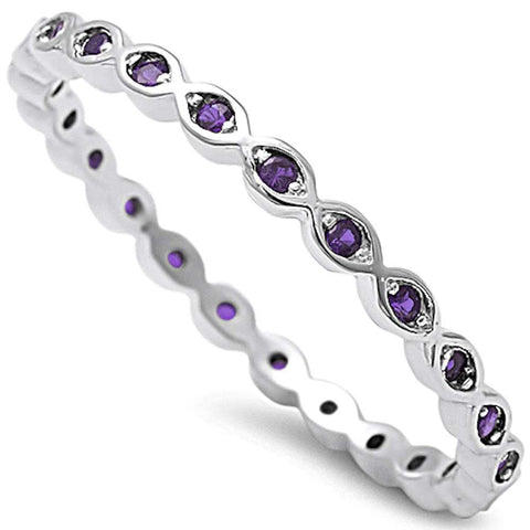 Amethyst Eternity Band .925 Sterling Silver Ring Sizes 4-10
