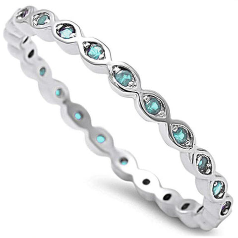 Aquamarine Eternity Band .925 Sterling Silver Ring Sizes 3-12