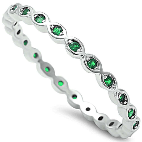 Green Emerald Eternity Band .925 Sterling Silver Ring Sizes 4-10