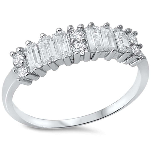 Baguette & Round Cubic Zirconia .925 Sterling Silver Ring Sizes 5-9