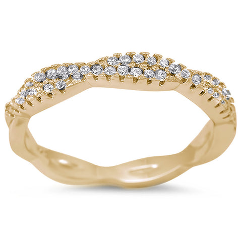 Yellow Gold Plated Infinity Style Cubic Zirconia .925 Sterling Silver Ring Sizes 4-11