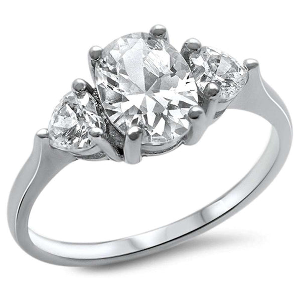 Oval & Heart Shape Cz .925 Sterling Silver Ring Sizes 4-11