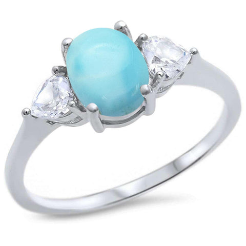 Oval & Heart Shape Natural Larimar & CZ .925 Sterling Silver Ring Sizes 5-10