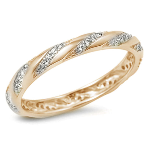<span>CLOSEOUT!</span>Yellow Gold Plated Cubic Zirconia Eternity Design Band .925 Sterling Silver Ring Size 5-10