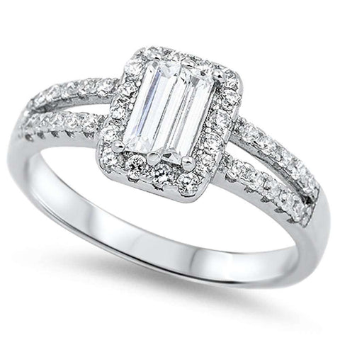 Emerald Cut & Round Cz Fashion Engagement .925 Sterling Silver Ring Sizes 5-10