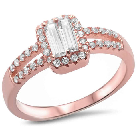 Rose Gold Plated Baguette Cubic Zirconia .925 Sterling Silver Ring Sizes 5-9