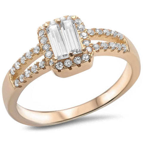 Yellow Gold Plated Baguette Cubic Zirconia .925 Sterling Silver Ring Sizes 5-9