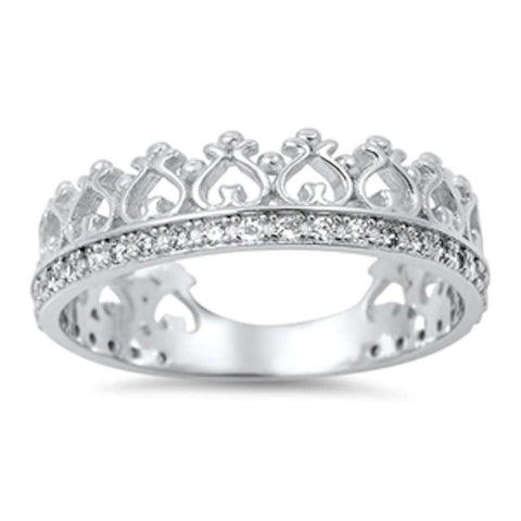 Cubic Zirconia Crown Eternity Band .925 Sterling Silver Ring Sizes 5-10