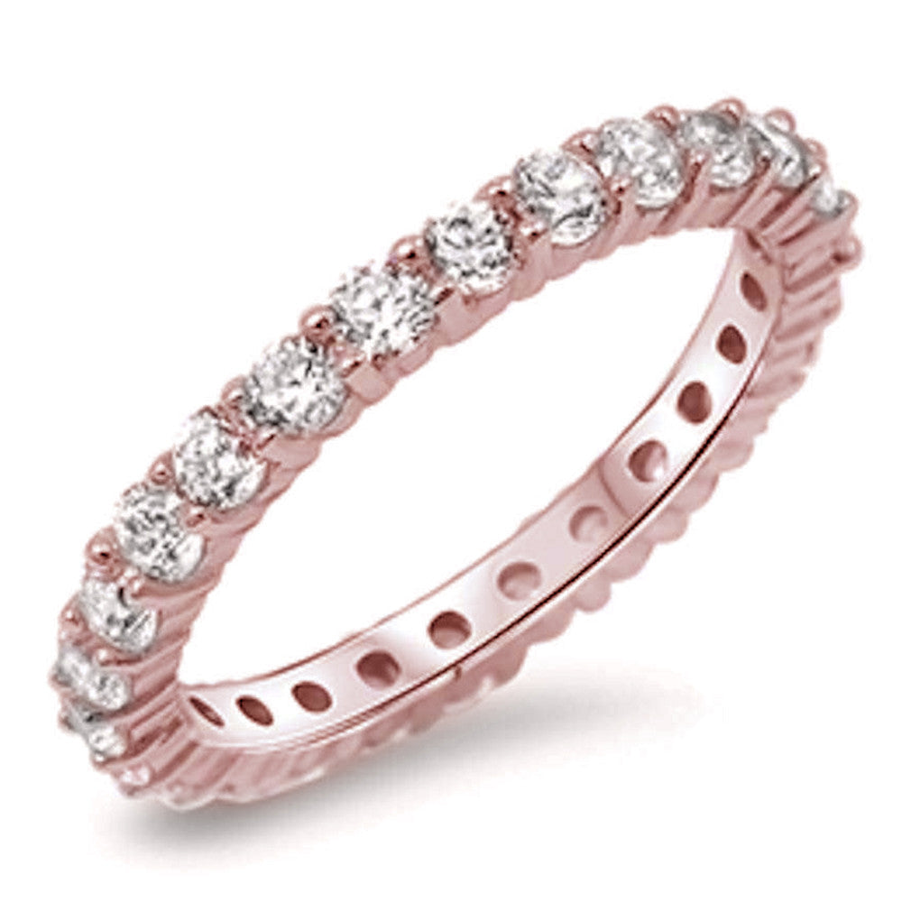 Rose Gold Plated Cubic Zirconia Eternity Anniversary Band .925 Sterling Silver Ring Sizes 4-12