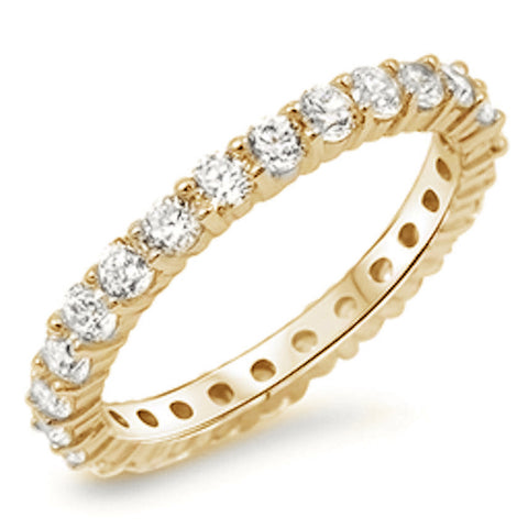 Yellow Gold Plated Cubic Zirconia Eternity Anniversary Band .925 Sterling Silver Ring Sizes 4-10