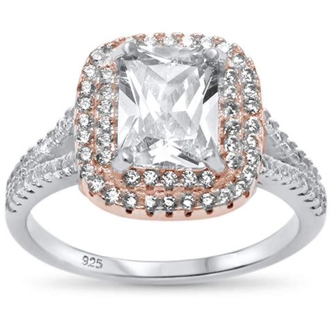 Two Tone Radiant Cut Cubic Zirconia .925 Sterling Silver Ring Sizes 6-8