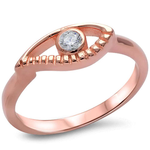 Rose Gold Plated Cz Evil Eye .925 Sterling Silver Ring Sizes 4-9
