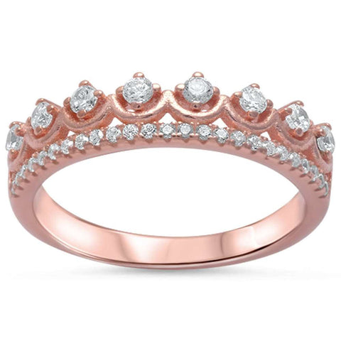 Rose Gold Plated Cz Crown .925 Sterling Silver Ring Sizes 4-9