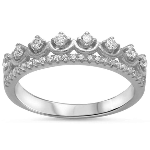 Cz Crown .925 Sterling Silver Ring Sizes 4-9
