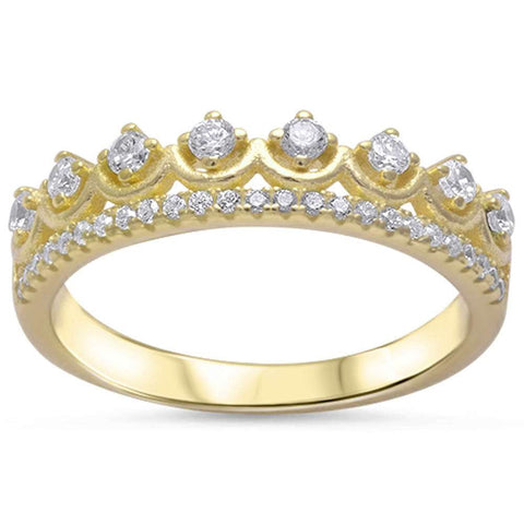 Yellow Gold Plated Cz Crown .925 Sterling Silver Ring Sizes 4-9