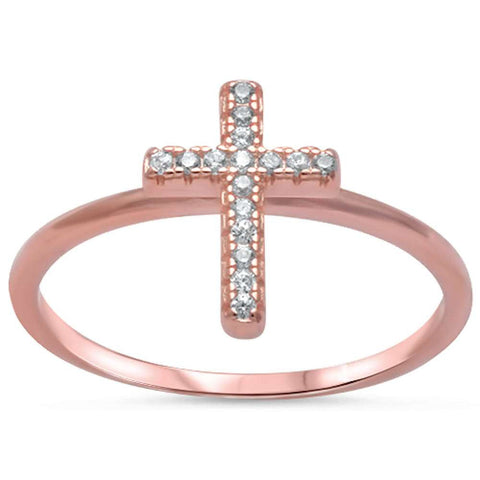 Rose Gold Plated Cz Cross .925 Sterling Silver Ring Sizes 4-10