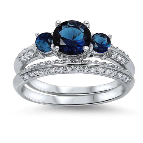Blue Sapphire & CZ Bridal Set .925 Sterling Silver Ring Sizes 4-11