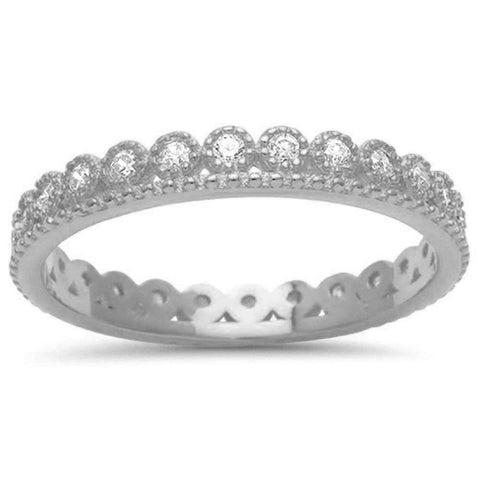 Crown Cubic Zirconia Eternity Band .925 Sterling Silver Ring Sizes 4-10