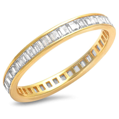 Yellow Gold Plated Baguette Cz Band .925 Sterling Silver Ring Sizes 4-11