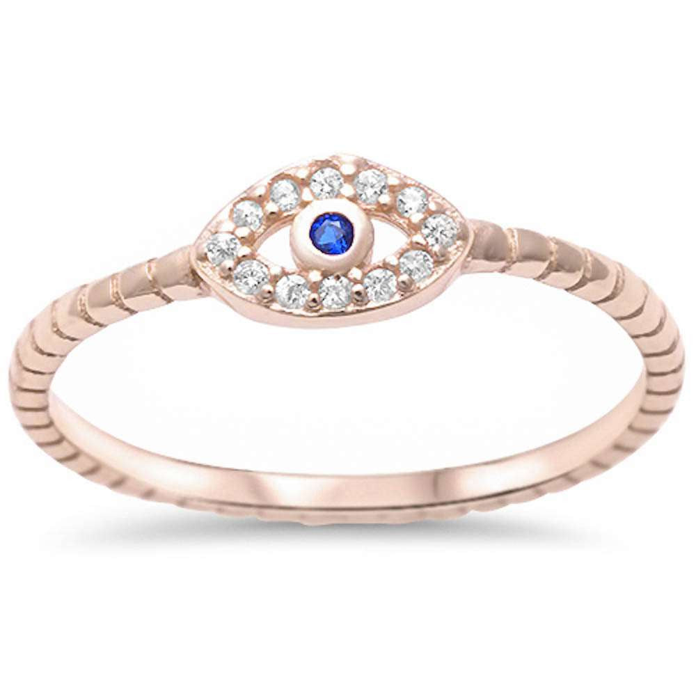 3ca64ea39f7c06 Yellow Gold Plated Cubic Zirconia & Sapphire Evil Eye .925 Sterling Silver  Ring Sizes 4
