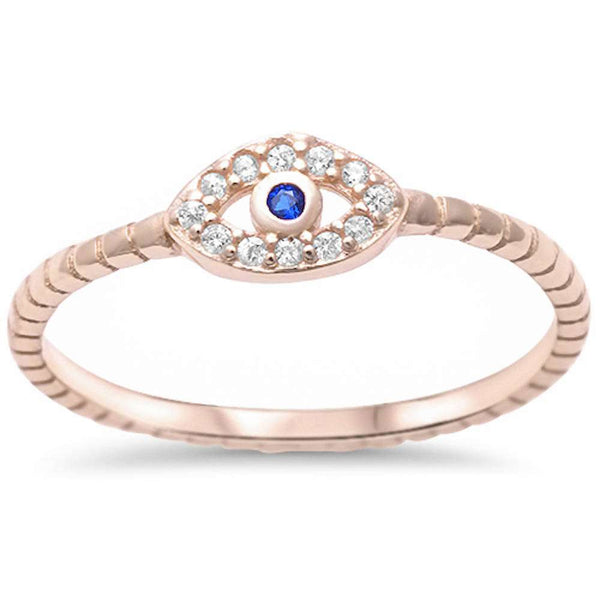 Yellow Gold Plated Cubic Zirconia & Sapphire Evil Eye .925 Sterling Silver Ring Sizes 4-10