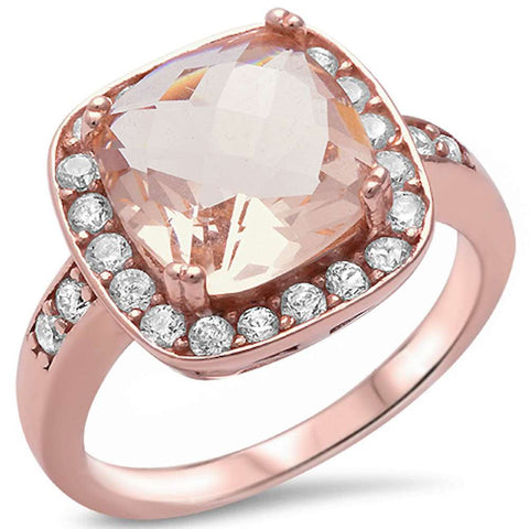 Rose Gold Plated Cushion Cut Morganite & Cubic Zirconia .925 Sterling Silver Ring Sizes 5-11