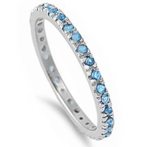 Stackable Blue Topaz Eternity Band .925 Sterling Silver Ring Sizes 3-12