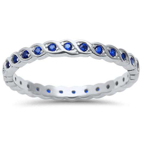 Blue Sapphire Eternity .925 Sterling Silver Ring Sizes 4-10