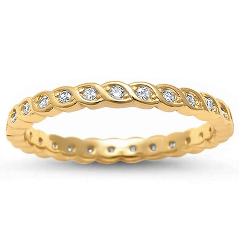 Yellow Gold Plated Cubic Zirconia Eternity  .925 Sterling Silver Ring Sizes 4-11