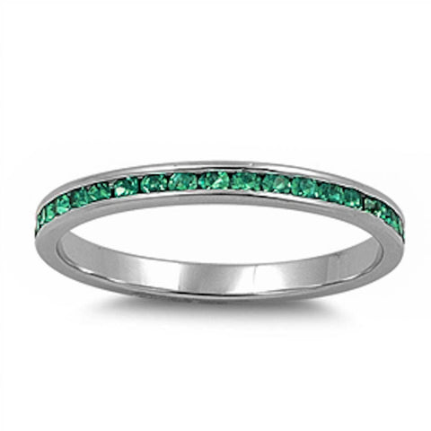 <span>CLOSEOUT!</span> Channel set Green Emerald CZ .925 Sterling Silver Eternity Band Sizes 2-12