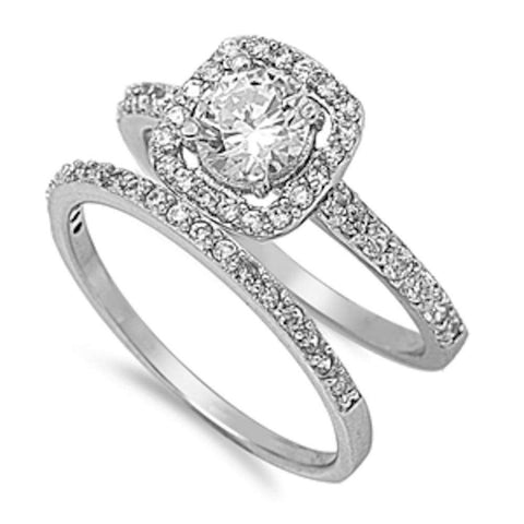 Halo Cz Wedding Set .925 Sterling Silver Ring Sizes 5-10