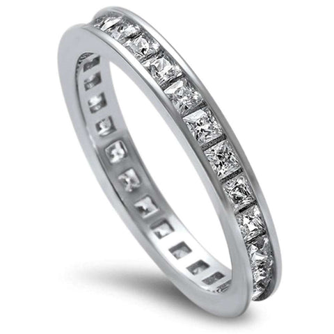 Princess Cut Cz .925 Sterling Silver Eternity Band Sizes 3-12