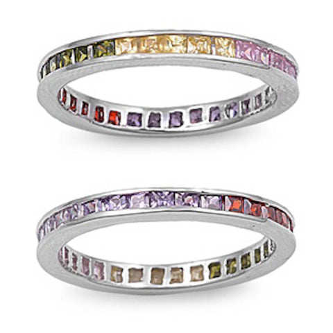 <span>CLOSEOUT!</span>Princess Cut Multi Gemstone .925 Sterling Silver Eternity Band Sizes 3-12