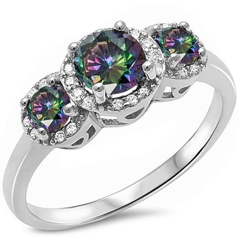 Halo 3 Rainbow Topaz Stone & Cz .925 Sterling Silver Ring Sizes 5-10
