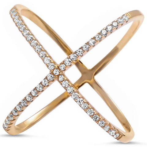 <span>CLOSEOUT!</span> Yellow Gold Plated Cz Kriss Kross .925 Sterling Silver Ring Sizes 4-12