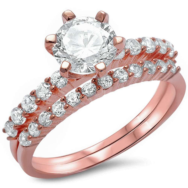 <span>CLOSEOUT!</span>2ct Round Cz Solitaire Rose Gold Plated Wedding Set .925 Sterling Silver Sizes 4-12