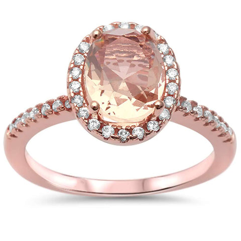 Halo Rose Gold Plated Morganite & Cubic Zirconia .925 Sterling Silver Ring Sizes 5-10