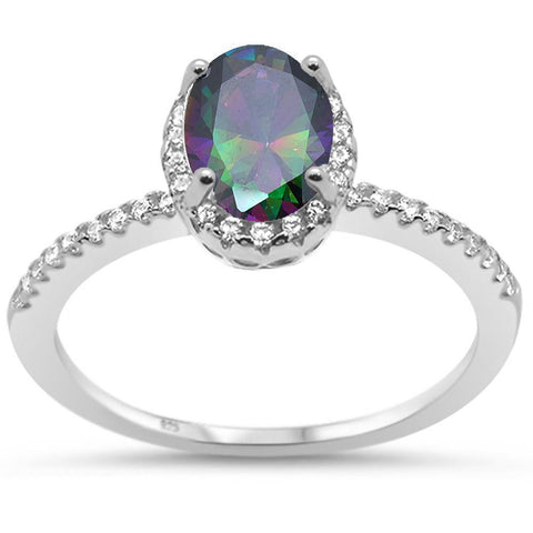 Oval Rainbow Topaz Halo Cz Engagement .925 Sterling Silver Ring Sizes 5-10