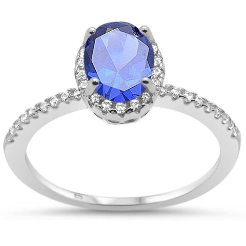 Oval Tanzanite Halo Cz Engagement .925 Sterling Silver Ring Sizes 5-10