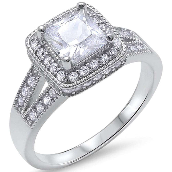 Princess Cut Solitaire Cz Engagment Fashion .925 Sterling Silver Ring Sizes 5-10