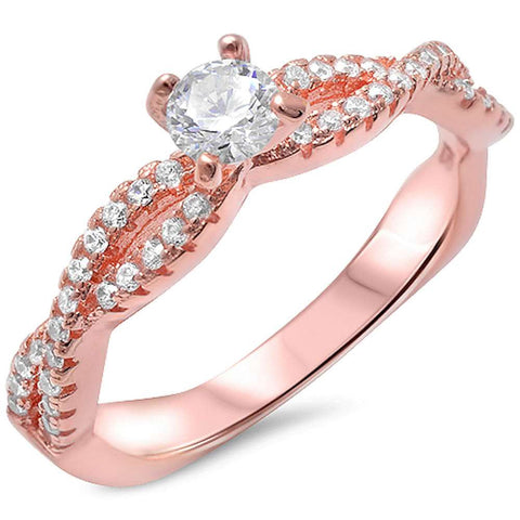 Rose Gold Plated Solitaire Cz Infinity Band .925 Sterling Silver Ring Sizes 5-10