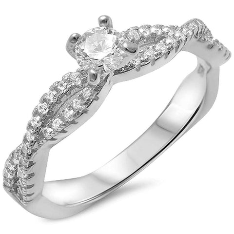 Fine Solitaire Cz Infinity Band .925 Sterling Silver Ring Sizes 5-10