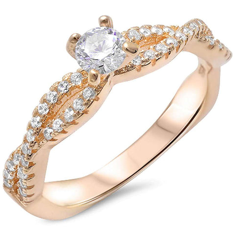 Yellow Gold Solitaire Cz Infinity Band .925 Sterling Silver Ring Sizes 5-10