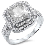 Radiant Cut Cubic Zirconia Engagement .925 Sterling Silver Ring Sizes 5-10